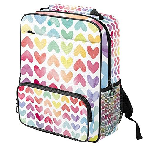 Zaino casual per computer portatile, borsa da lavoro alla moda con stampa a cuore amorevole colorato per donne/ragazze/uomini