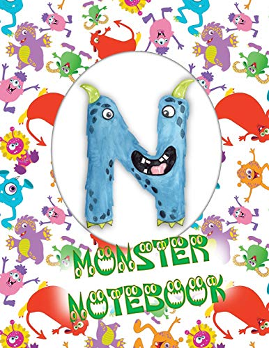 N Monster Notebook: Kids Monogrammed Journal and Doodle Book