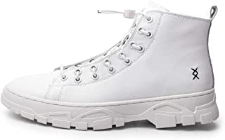 Dr. Martin unisex boots Side zipper low tube men's boots casual high-top men's shoes thick bottom trendy men's leather boots British style leather tooling boots (Color : White, Size : 44)
