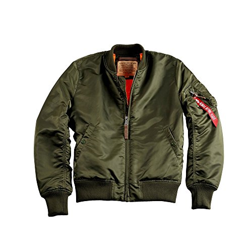 ALPHA INDUSTRIES Herren Bomberjacke MA-1 VF 59 Long, Größe:XS, Farbe:Dark Green