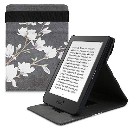 kwmobile Hülle kompatibel mit Tolino Page 2 - Schlaufe Ständer - e-Reader Schutzhülle - Magnolien Taupe Weiß Dunkelgrau