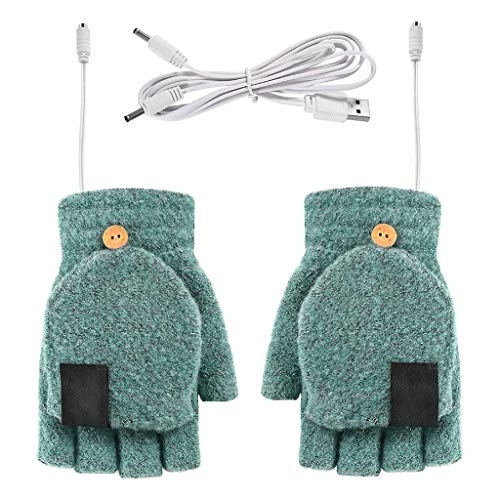 AIUII Guantes de invierno Flip medio dedo calefacción eléctrica guantes de punto...