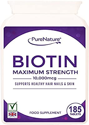 """Biotin Hair Growth Stronger & Thicker Hair 185 Tablets (Full 6 Month Supply) 10,000mcg Double Strength Vitamin B7 Easy to Swallow For Hair Loss & Supports the Growth & Maintenance of Healthy Hair Nails & Skin for Women and Men. PureNature Rated """"BEST BUY"""""""