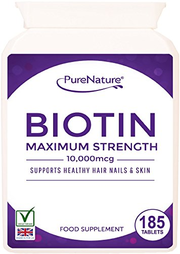Biotin Hair Growth Supplement |10000mcg | 185 Tablets (6-Month Supply) | for Healthy Hair, Nail and Skin Support by PureNature