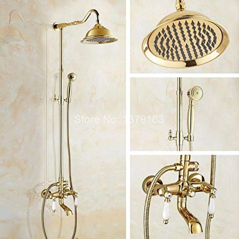 Luxus Gold Farbe Messing Wand Regen Badezimmer Regen Dusche Wasserhahn Set Doppel Keramik Griffe Badewanne Mischbatterie agf623, gelb