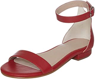 Saint G Womens Red Napa Leather Fashion Sandals