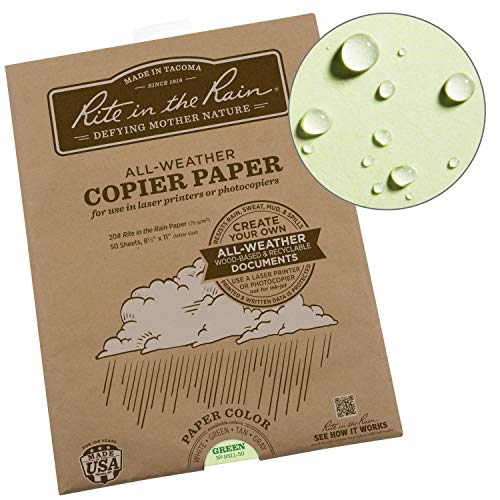 "Rite In The Rain Weatherproof Laser Printer Paper, 8 1/2"" x 11"", 20# Green Colored Printer Paper, 50 Sheet Pack (No. 9511-50)"