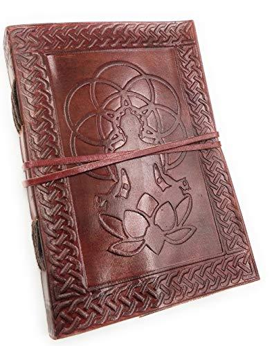 Kooly Zen – Cuaderno de notas, diario, libro, piel auténtica, vintage, de Buda semilla de vida, 13 x 17 cm, 240 páginas, papel premium