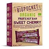 Biopocket - Barritas ecológicas de fruta y frutos secos, sabor cereza dulce (18 x 35 g)