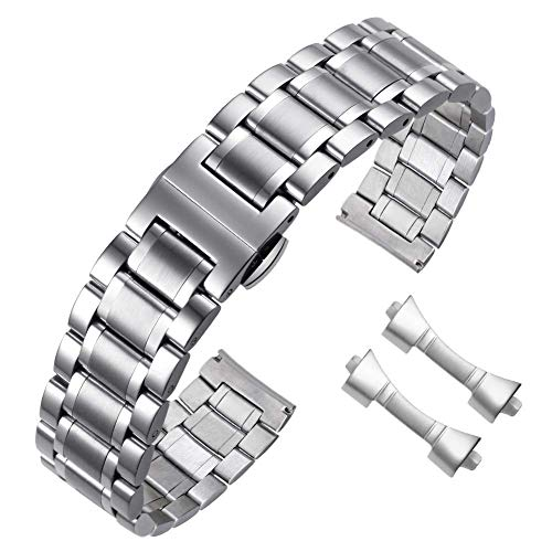 Correa de Reloj de 21mm Metal Correa de Reloj de Acero Inoxidable de 21mm Correa de Pulsera de Repuesto de Metal con pasadores y Herramienta de extracción para Reloj de Mujer para Hombre