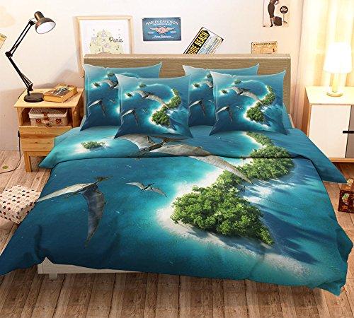 Parure de lit 3D avec housse de couette et taies d'oreiller pour lit simple et king size Motif îles de mer Vert