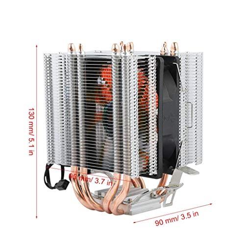 12V CPU-koeler, processorkoeler, radiator met enkele ventilator, compatibel met 4 warmtepijpen 3-lijns enkele ventilator/vier warmtepijpen/aluminium basis/hoog rendement/warmteafvoer (rood licht)