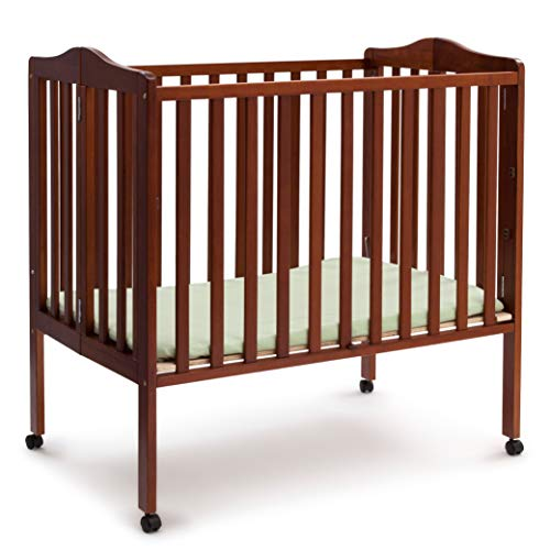 Delta Children Folding Portable Mini Baby Crib with Mattress, Dark Cherry
