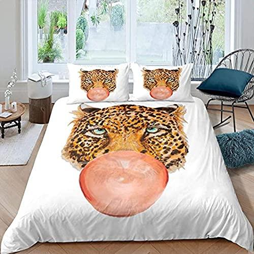 Funda De Edredón Blanca Funda Nórdica Leopardo Juego Ropa Cama Guepardo Safari Edredón Tema Animales Salvajes Niños Niños Adolescentes Decoración Dormitorio Colcha Chicle Dibujos Animados Lindo