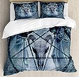 Juego de funda de edredón de Horror House, obra de arte Pentagrama Cráneo Diablo Sueño con capucha imagen exorcista, juego de cama decorativo de 3 piezas con 2 almohadas, California King, azul