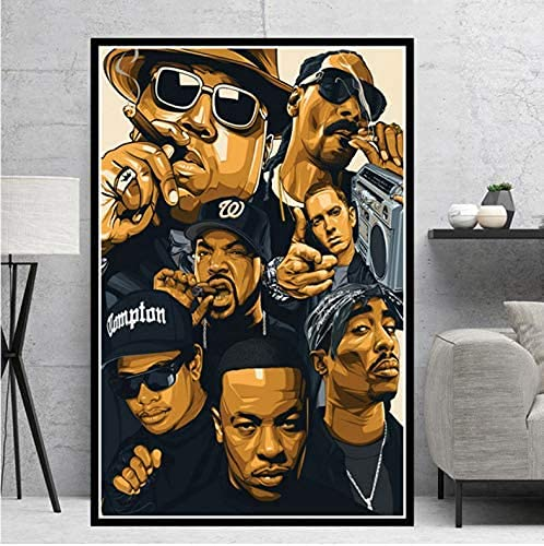TODGLG Wall Art Picture Poster Hip Hop Rap Star Poster Impressions Legend Star Collage Canvas Oil Painting Art Wall Pictures Living Room Home Decor 50x70cm Frame