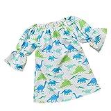 JUTOO Kleinkind-Säuglingsbaby-Mädchen-niedlicher Karikatur-Dinosaurier-Druck kleidet Kleidungs-Outfits (Weiß,100)