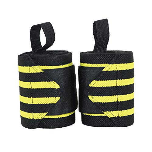 Diamondzoe Wrist Wraps for Men & Women – Reinforced Thumb Loop Straps – Breathable Bandage Style Support Brace for Weight Lifting, Powerlifting, Strength Training Workout, or Cross (1 Double) (Yellow)