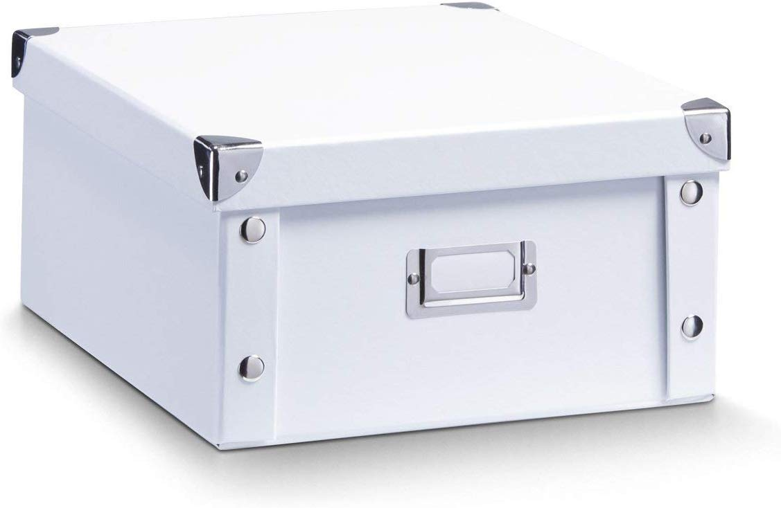 Zeller 17763 Caja de almacenaje de cartón Blanco (White) 31 x 26 x 14 cm: Amazon.es: Hogar