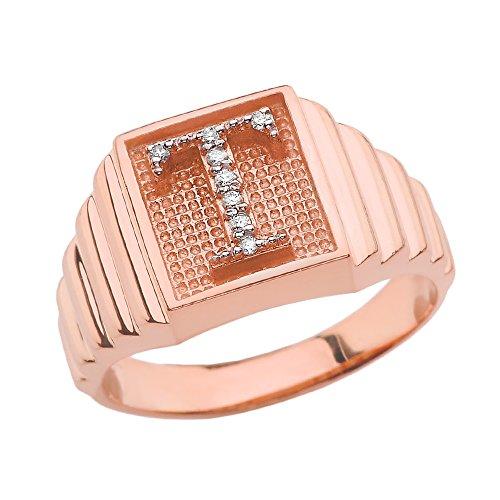 Damen Ring 14 Karat Rotgold Diamant Buchstabe T Ring