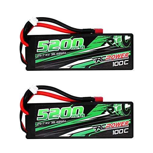 RCPOWER 7.4V 5200mAh 2S 100C Lipo Battery T Plug for RC Airplane, RC Quadcopter Helicopter Battery, RC Car/Truck, RC Boat DJI Airplane (2Packs)