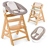 Hauck Alpha Plus Newborn Set - Trona de madera evolutiva bebés, incluye hamaca para recién nacidos, cojín gratis, altura regulable - color natural/beige