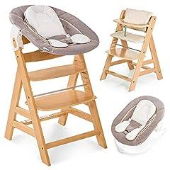 Hauck Alpha Newborn Set – Baby houten kinderstoel vanaf de geboorte met liggende functie incl. bevestiging voor pasgeborenen en hoge stoel ondersteuning, met groeiende, in hoogte verstelbaar - natuur beige *