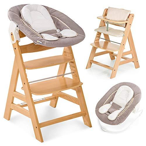 Hauck Alpha Plus Newborn Set - Trona de madera evolutiva bebés, incluye hamaca para recién nacidos, cojín gratis, altura regulable - color natural/beige