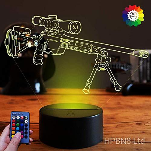 HPBN8 Ltd Optical Illusions 3D Scharfschützengewehr Nacht Licht LED Lampen Fernbedienung USB Power 7/16 Farben 3D LED Lampe Formen Kinder Schlafzimmer Geburtstag Weihnachten Geschenke