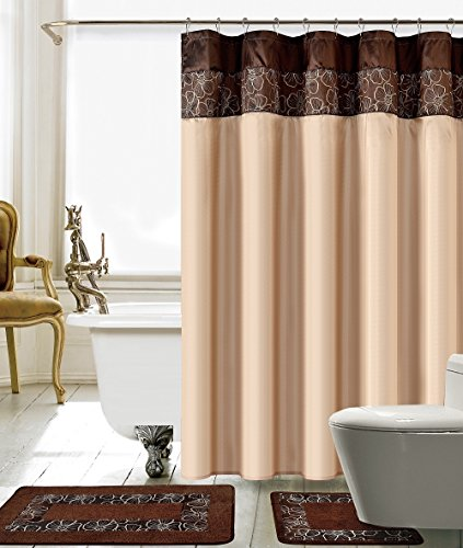 BH Home & Linen 15 Piece Embroidery Banded Shower Curtain Bath Set 1 Bath Mat 1 Contour 1 Shower Curtain 12 Matching Fabric Shower Rings 100% Polyester. ((L) Brown & Beige)