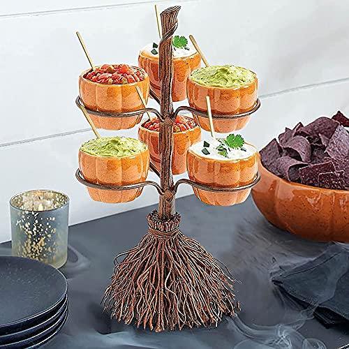 YAOLAN Soporte de Cuenco para Bocadillos de Calabaza de Halloween, Exhibición Creativa Resina En Forma Torre para Frutas, Ensalada, Postre