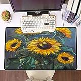 Übergroße Spiel Mauspad -Schreibtischunterlage Large Size,Grüne Malerei Sonnenblumen auf dunklem Garten Grau Original Natur Gelb Schönheit Botanischer Blu,schnelle Maussteuerung,Gummiunterseite