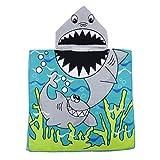 perfk Kinder Badetuch Robe Schwimmen Poncho Umkleidehilfe Bademantel Strandtuch Badeponcho für Jungen Mädchen - Hai