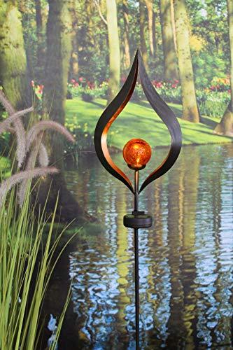 Kamaca LED SOLAR Gartenstab Wegeleuchte Gartenleuchte Flamme Metallstab mit beleuchteten Acryl-Kugel mit 1 Terra LED - SOLARPANEL inklusive Erdspieß (Flamme Terra)