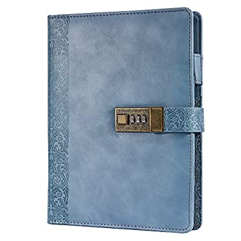 Locking Journal for Adults Journal with Lock Combination Passwords 6 Rings Refillable Embossed Large Leather Binder Notebook,blue