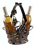 Clever Creations Basket Wine Bottle Holder, Premium Metal Design, Great Gift Basket for Your Favorite Wine