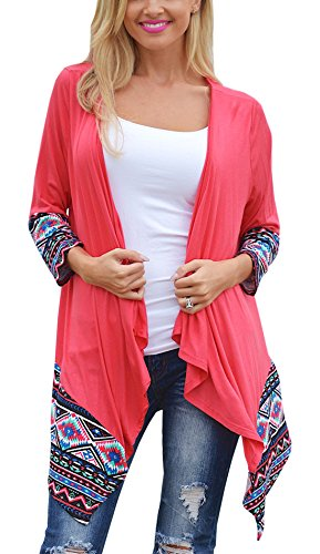 Relipop Women Winter Long Sleeve Irregular Printing Stitching Cardigan Jacket (Small, Red)