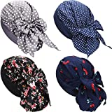 4 Pieces Women Retro Print Stretch Muslim Hat Head Wrap Twisted Hair Cover Wrap Turban Headwear Bonnet Night Sleeping Hats