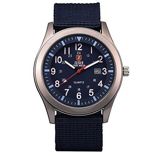 Zeiger Reloj unisex cuarzo – Date Fluorescence Agujas – Army azul Canvas Nylon pulsera … (Blue)