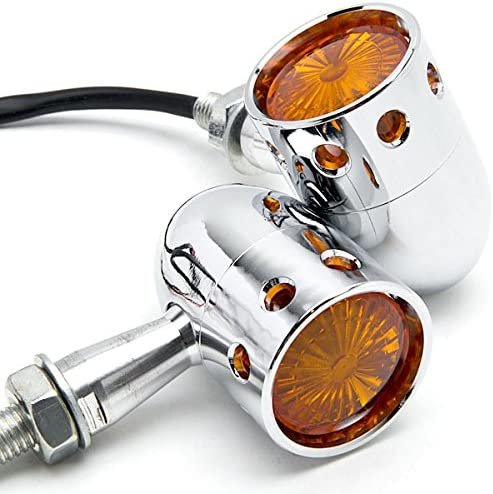 Krator 2pcs Chrome Motorcycle Turn Blinker Courier shipping 1 year warranty free Signals Compat Lights