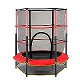 RDFlame Trampolín para Niños Cama elástica infantil con rojo de seguridad 140 cm para jardín para niños cama elastica exterior capacidad de carga dinámica de 50 kg