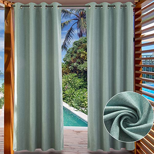 LIFONDER Patio Curtains Outdoor Blinds - Heavy Turquoise Grommet Blackout Drapes Privacy Waterproof Outside Curtain Panels for Canopy / Pergola / Canaba, Teal, W52 by L84 Inch,1 Pc