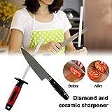 10 Inch, Afilado de cuchillas de varilla de cerámica, varilla de afilado de diamante de cerámica para cuchillos de acero inoxidable, varilla de afilador de cuchillos profesional para cocina casera