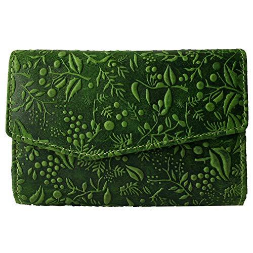 Hill Burry hochwertige Vintage Leder Damen Geldbörse Portemonnaie langes Portmonee Geldbeutel aus weichem Leder in grün Blumenmuster von außen - 14,5x10x4cm (B x H x T)