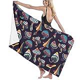 Lsjuee Toalla de Playa de Microfibra para Piscina Setas de Colores Toalla de baño de Secado rápido Toallas de Surf Esterilla de Yoga (31.5 'X 51.2')