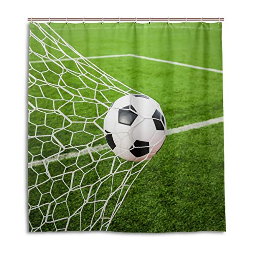 CPYang Duschvorhänge Sport Fußball Tornetz Wasserdicht Schimmelresistent Badevorhang Badezimmer Home Decor 168 x 182 cm mit 12 Haken