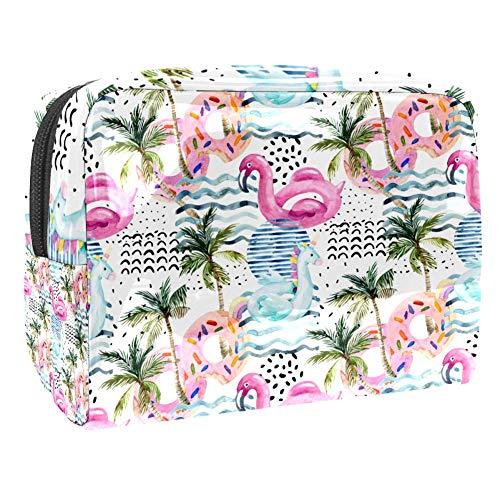 Trousse de maquillage de voyage multifonction pour femme – Swan Pink Donuts Palm Tree