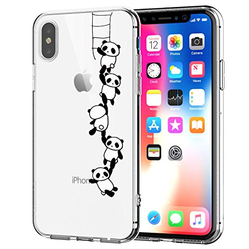 Cover iPhone X Trasparente, iPhone X Cover Silicone Ultra Simpatico Disegno Animale Slim Custodia in Silicone Antiurto No-Slip Anti-Graffio Semi Morbido Ultra Slim con Disegno per iPhone X (Panda)