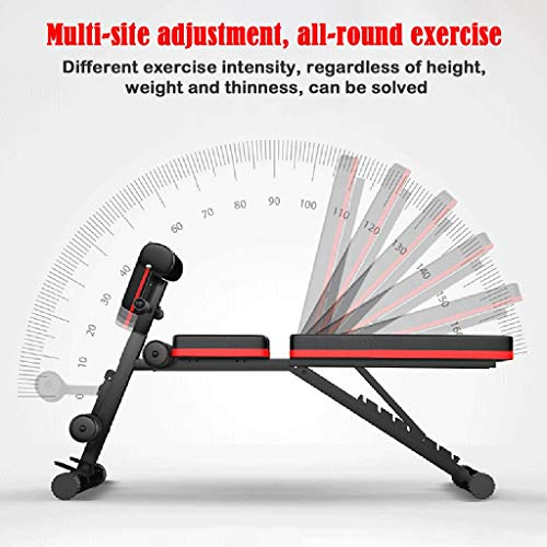 Adjustable Weight Bench, Utility Barbell Lifting Press Exercise Workout Bench for Home Strength Training Multi-Purpose Folding Flat Incline Decline Bench Sit Up Abs Benchs Roman Chair with 2 Fitness Rope