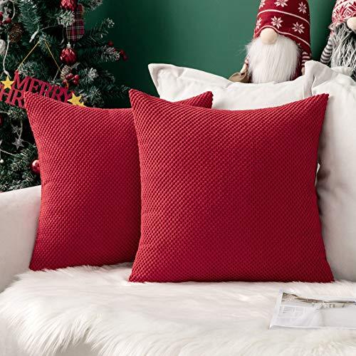 """MIULEE Weihnachten 2er Set Granulat Kissenbezug Ananas Weiches Massiv Dekorativen Quadratisch Überwurf Kissenbezüge Kissen für Weihnachten Sofa Schlafzimmer 16""""x16"""", 40 x 40 cm Rot"""